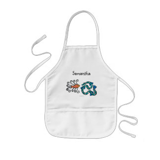 Colorful Illustrated Fish Friends Kids' Apron