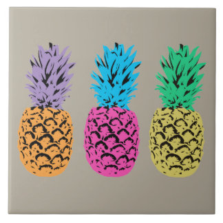 Colorful illustrated Pineapples Tile