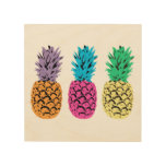 Colorful illustrated Pineapples Wood Wall Decor