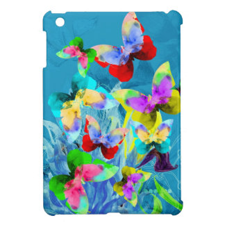 Colorful illustration of butterflies on blue plant iPad mini cases