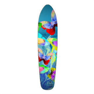 Colorful illustration of butterflies on blue plant skateboard deck