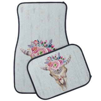 Colorful Illustration Of Cow Skull With Horns Car Mat