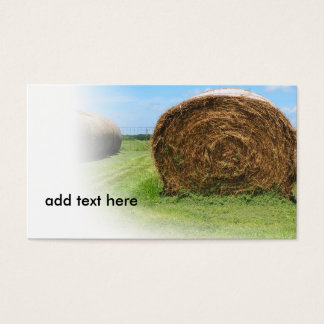 colorful image of a large round hay bale business card