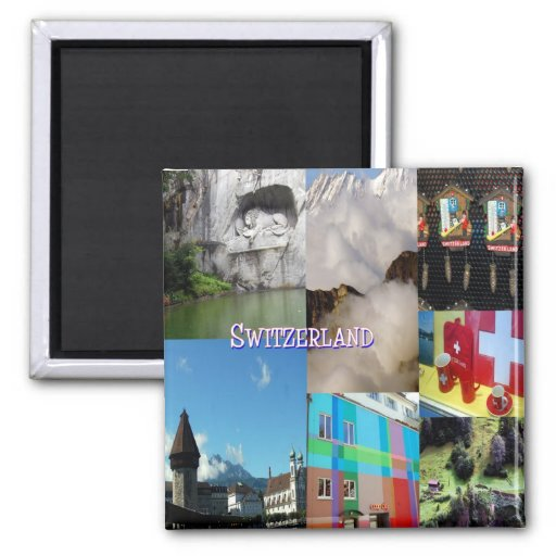 Colorful Images of Switzerland by Celeste Sheffey 2 Inch Square Magnet