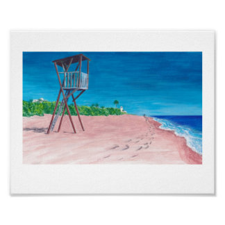Colorful impressionist arts seaside beach prints poster