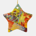 COLORFUL INDECISION 3  Wild Vivid Rainbow Abstract Ornament