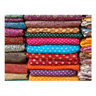 Colorful Indian Asian Sari Fabric Postcard