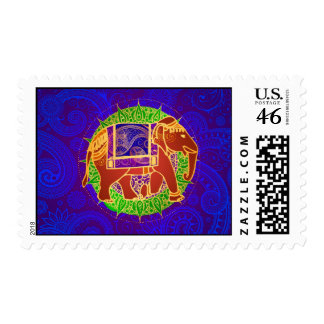 Colorful Indian Elephant Postage Stamps