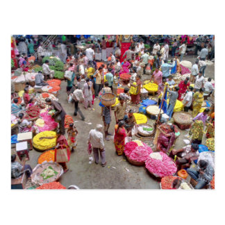 Colorful Indian Flower Market in Bangalore India Post Card
