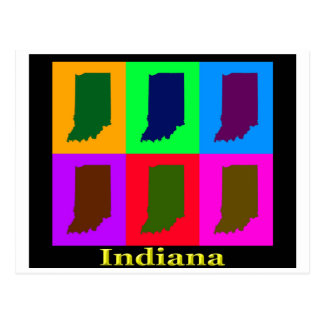 Colorful Indiana State Pop Art Map Postcard