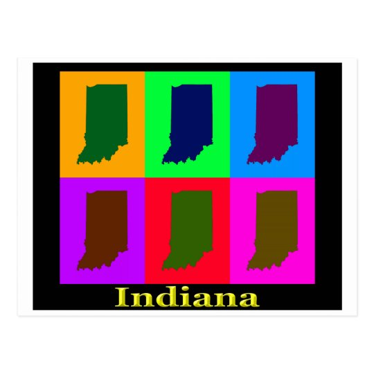 Colorful Indiana State Pop Art Map Postcard on washington state map postcard, indiana state park campground maps, ohio state map postcard, indiana united states map,