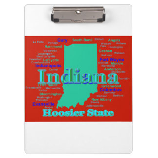 Colorful Indiana State Pride Map Pop Art Clipboard