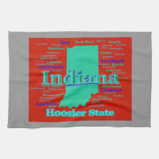 Colorful Indiana State Pride Map Pop Art Kitchen Towel