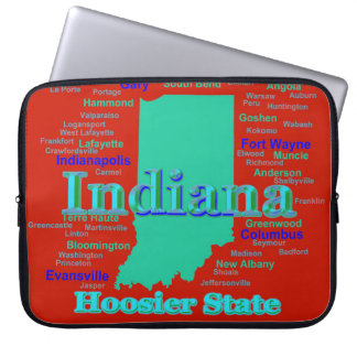 Colorful Indiana State Pride Map Pop Art Laptop Sleeve
