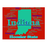 Colorful Indiana State Pride Map Pop Art Postcard