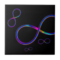 Colorful Infinity Symbol on black background Ceramic Tile