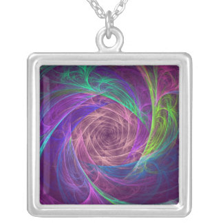 Colorful Infinity With Pink And Purple Square Pendant Necklace