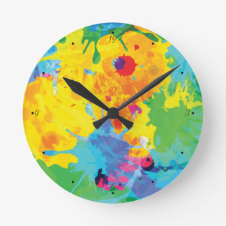 Colorful Ink Splashes Round Clock