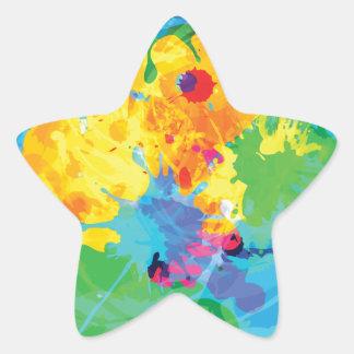 Colorful Ink Splashes Star Sticker