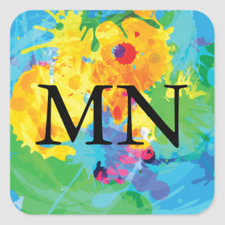 Colorful Ink Splashes with Monogram Square Sticker