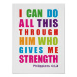 Colorful Inspirational Philippians 4:13 Posters