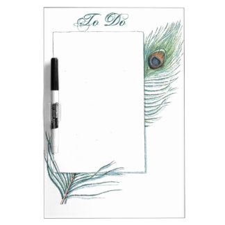 Colorful Inspirational Vintage Peacock Feather Dry Erase Whiteboard
