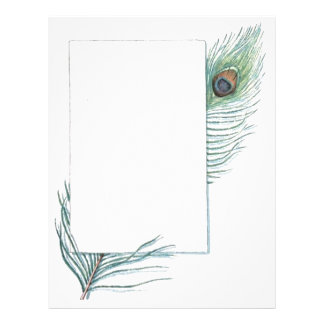 Colorful Inspirational Vintage Peacock Feather Letterhead