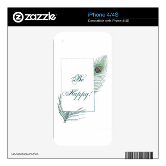 Colorful Inspirational Vintage Peacock Feather Decal For iPhone 4S