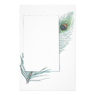 Colorful Inspirational Vintage Peacock Feather Stationery