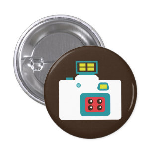 Colorful Instant Camera (White / Blue) Flair Button
