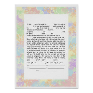 Colorful Interfaith Text Ketubah Poster