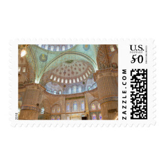 Colorful interior domed ceiling of Blue Mosque Postage