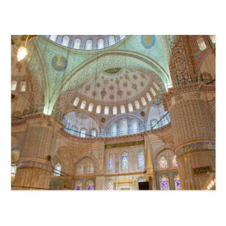 Colorful interior domed ceiling of Blue Mosque Postcard