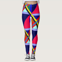 Colorful Intersection Patterned Leggings