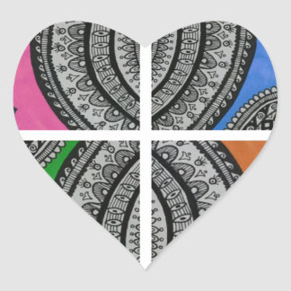 Colorful Intricate design Heart Sticker