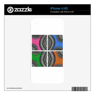 Colorful Intricate design Skins For The iPhone 4S