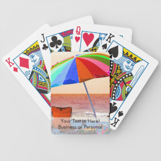Colorful invert beach umbrella and chairs on Flori Bicycle Playing Cards