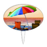 Colorful invert beach umbrella and chairs on Flori Cake Topper