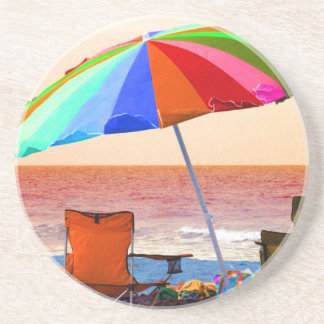 Colorful invert beach umbrella and chairs on Flori Drink Coaster