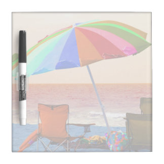 Colorful invert beach umbrella and chairs on Flori Dry Erase Board