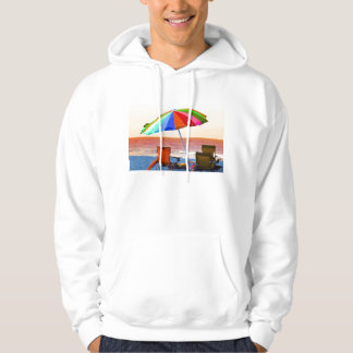 Colorful invert beach umbrella and chairs on Flori Hoodies