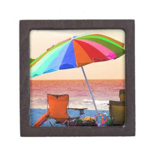 Colorful invert beach umbrella and chairs on Flori Keepsake Box