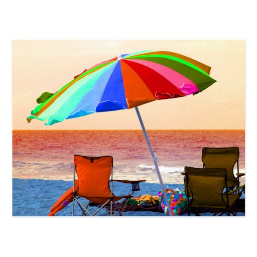 Colorful invert beach umbrella and chairs on Flori Postcard
