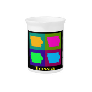 Colorful Iowa Pop Art Map Drink Pitcher