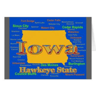 Colorful Iowa State Pride Map Silhouette Card