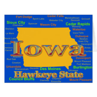 Colorful Iowa State Pride Map Silhouette Large Greeting Card