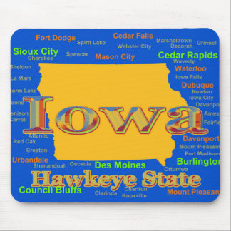 Colorful Iowa State Pride Map Silhouette Mouse Pad
