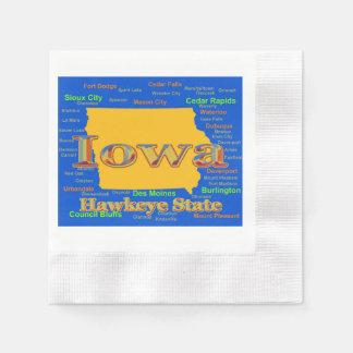 Colorful Iowa State Pride Map Silhouette Disposable Napkin