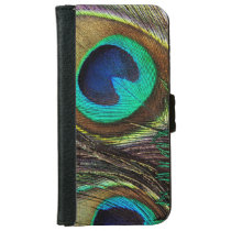 Colorful Iridescent Peacock Feather Wallet Phone Case For iPhone 6/6s