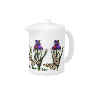Colorful Iris Flowers And Butterflies Teapot